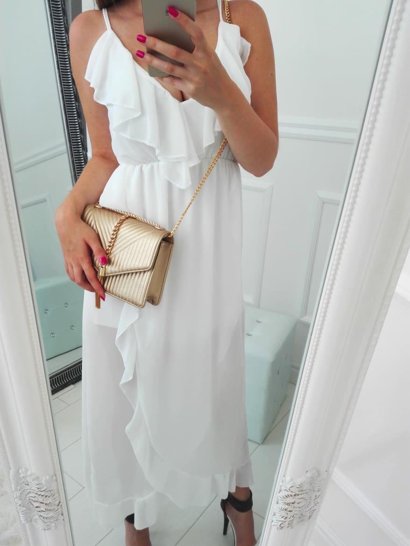 Dlhé letné šaty s volánmi biele - Elise.sk 338780665fa