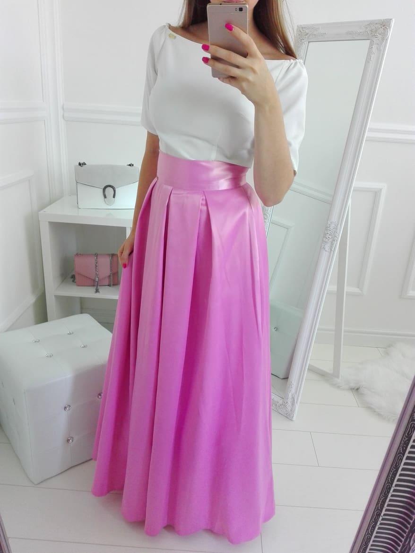 c41133447725 Spoločenská dlhá saténová sukňa ružová - Elise.sk