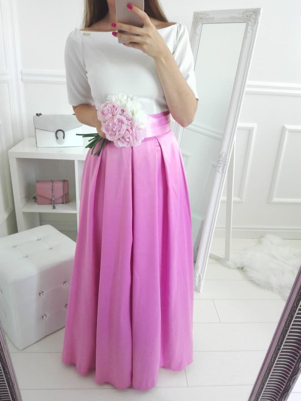 a640111f9b8f Spoločenská dlhá saténová sukňa ružová - Elise.sk