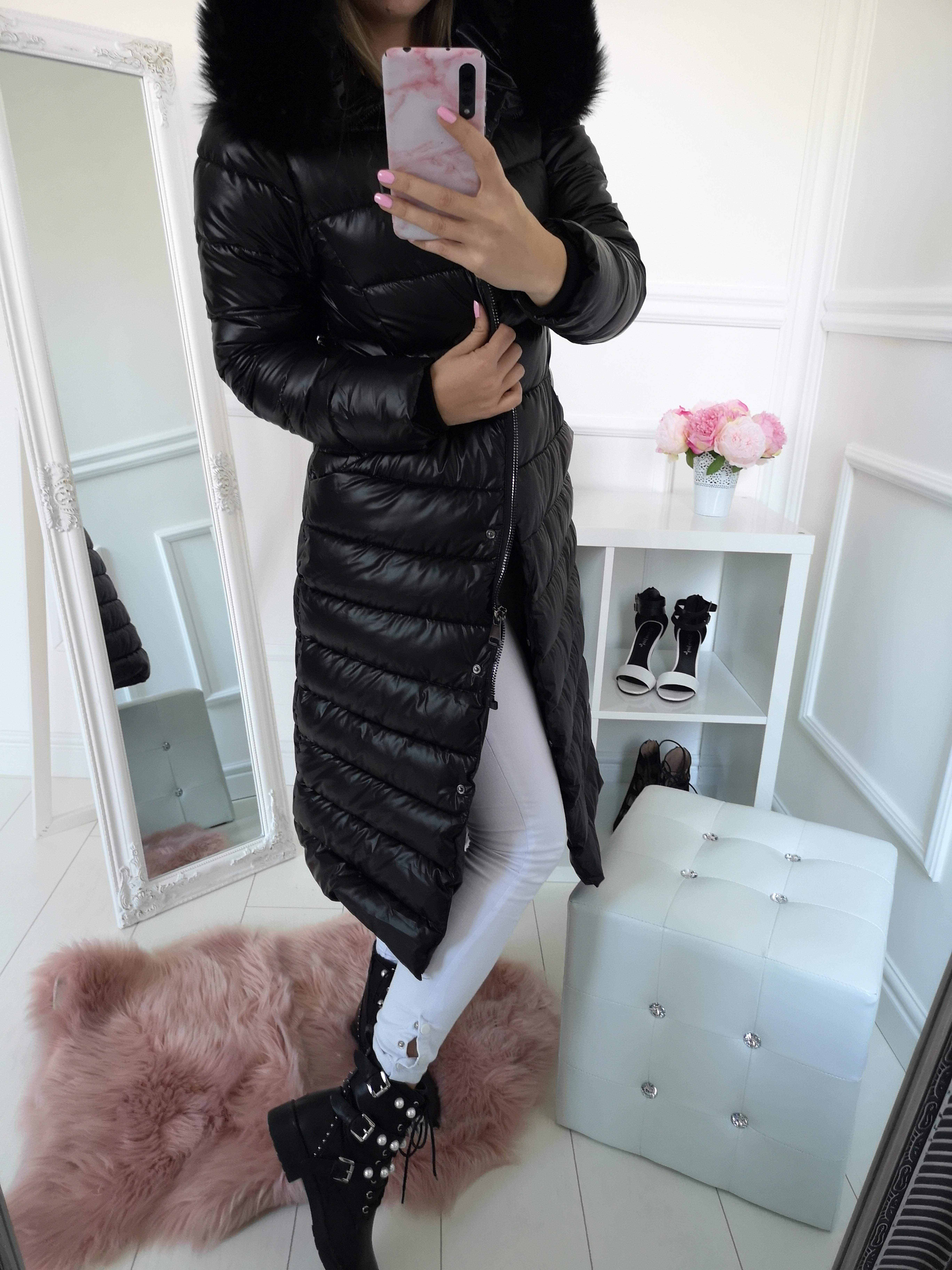 Dlhá zimná prešívaná bunda čierna - Elise.sk 27d208107e6